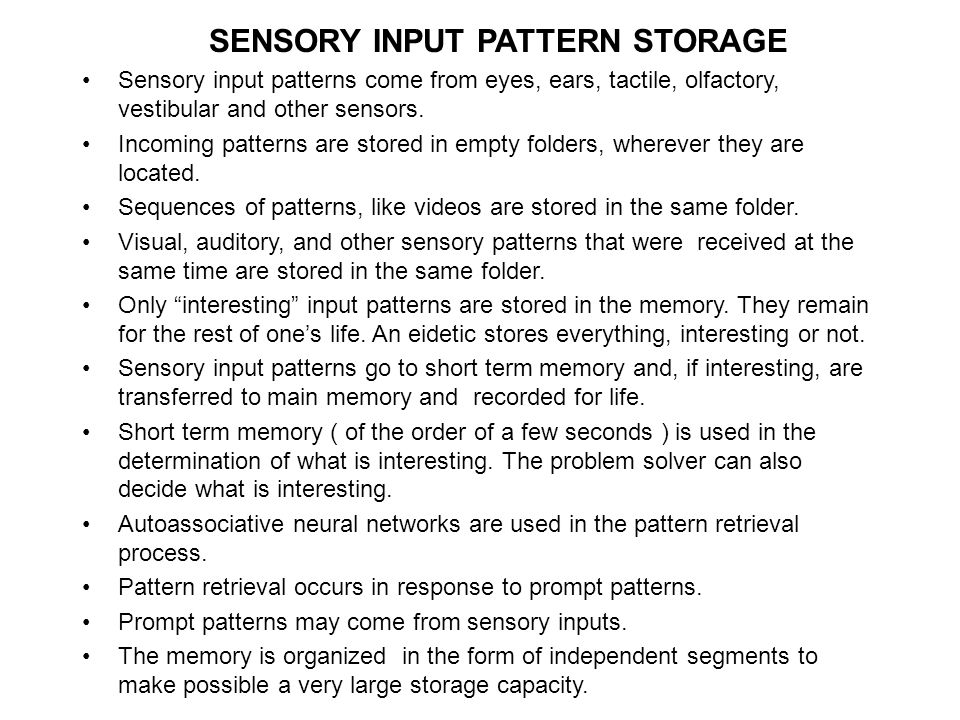 SENSORY INPUT PATTERN STORAGE Sensory input patterns come from eyes, ears, tactile, olfactory, vestibular and other sensors. Incoming patterns are sto