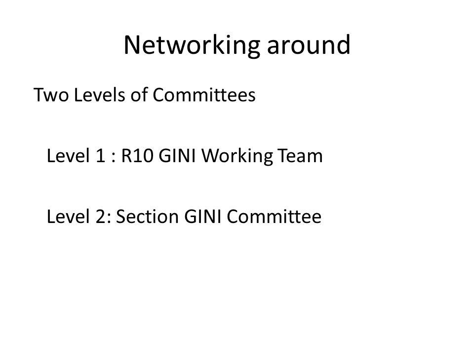 Networking around Two Levels of Committees Level 1 : R10 GINI Working Team Level 2: Section GINI Committee