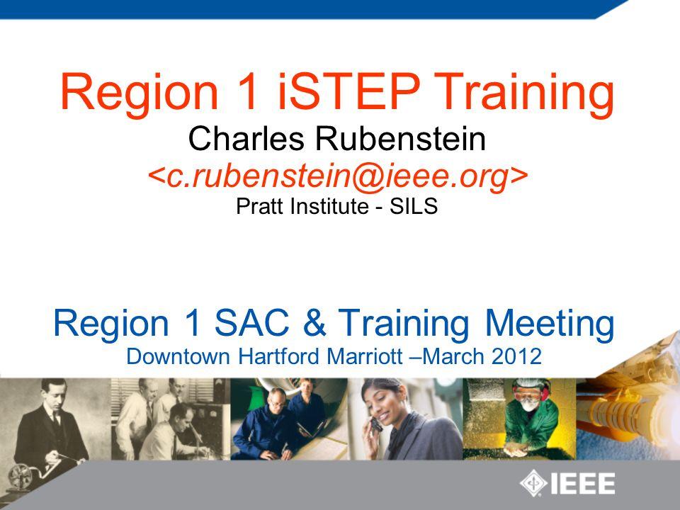 Region 1 SAC & Training Meeting Downtown Hartford Marriott –March 2012 Region 1 iSTEP Training Charles Rubenstein Pratt Institute - SILS