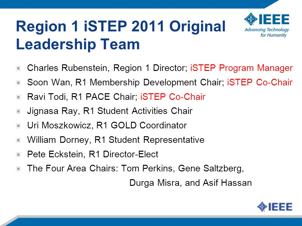 Region 1 iSTEP 2011 Original Leadership Team Charles Rubenstein, Region 1 Director; iSTEP Program Manager Soon Wan, R1 Membership Development Chair; i