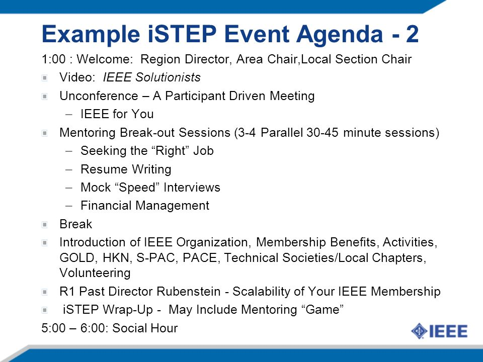 Example iSTEP Event Agenda - 2 1:00 : Welcome: Region Director, Area Chair,Local Section Chair Video: IEEE Solutionists Unconference – A Participant D