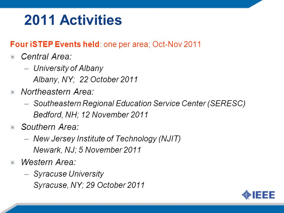 2011 Activities Four iSTEP Events held: one per area; Oct-Nov 2011 Central Area: –University of Albany Albany, NY; 22 October 2011 Northeastern Area: –Southeastern Regional Education Service Center (SERESC) Bedford, NH; 12 November 2011 Southern Area: –New Jersey Institute of Technology (NJIT) Newark, NJ; 5 November 2011 Western Area: –Syracuse University Syracuse, NY; 29 October 2011
