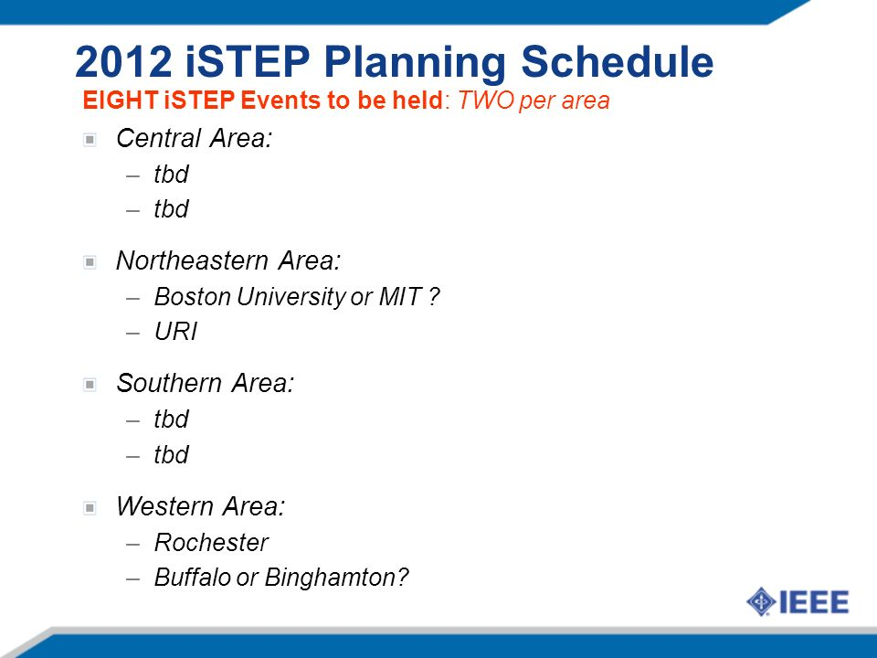 2012 iSTEP Planning Schedule EIGHT iSTEP Events to be held: TWO per area Central Area: –tbd Northeastern Area: –Boston University or MIT ? –URI Southe
