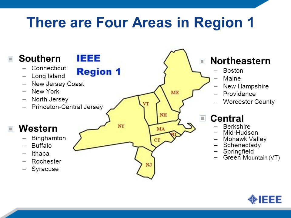 Central Area Sections: 2012-2013 Area Chair: Lisa Shay * 2011 Area Chair: Asif Hassan –Berkshire, Mid-Hudson, Mohawk Valley, Schenectady, Springfield, Green Mountain Northeast Area Sections: 2010-2013 Area Chair: Tom Perkins –Boston, Maine, New Hampshire, Providence, Worcester County Southern Area Sections: 2012-2013 Area Chair: Bob Pellegrino * 2011 Area Chair: Durga Misra –Connecticut, Long Island, New York, New Jersey Coast, North Jersey, Princeton-Central Jersey Western Area Sections: 2012-2013 Area Chair: Alex Loui * 2011 Area Chair: Gene Saltzberg –Binghamton, Buffalo, Ithaca, Rochester, Syracuse Region 1 Areas