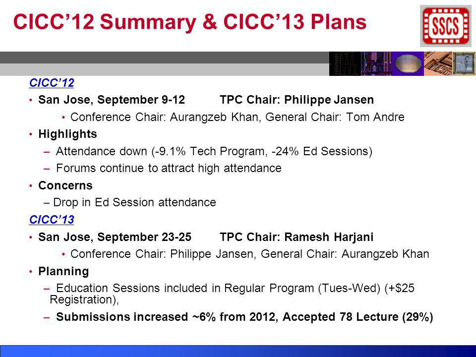 CICC12 Summary & CICC13 Plans CICC12 San Jose, September 9-12TPC Chair: Philippe Jansen Conference Chair: Aurangzeb Khan, General Chair: Tom Andre Hig