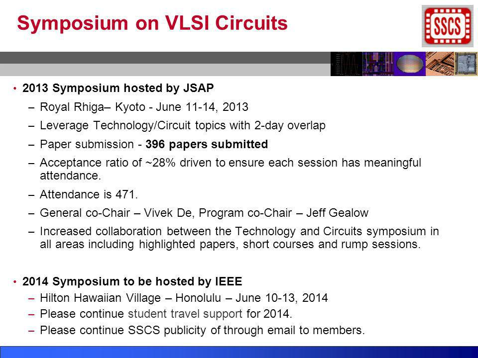 Symposium on VLSI Circuits 2013 Symposium hosted by JSAP – Royal Rhiga– Kyoto - June 11-14, 2013 – Leverage Technology/Circuit topics with 2-day overl