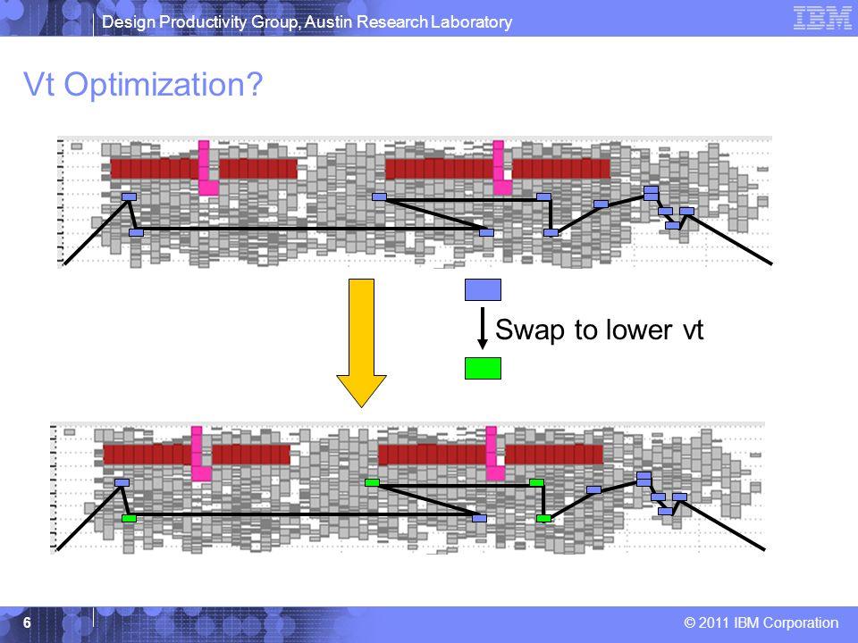 Design Productivity Group, Austin Research Laboratory © 2011 IBM Corporation 6 Vt Optimization? Swap to lower vt