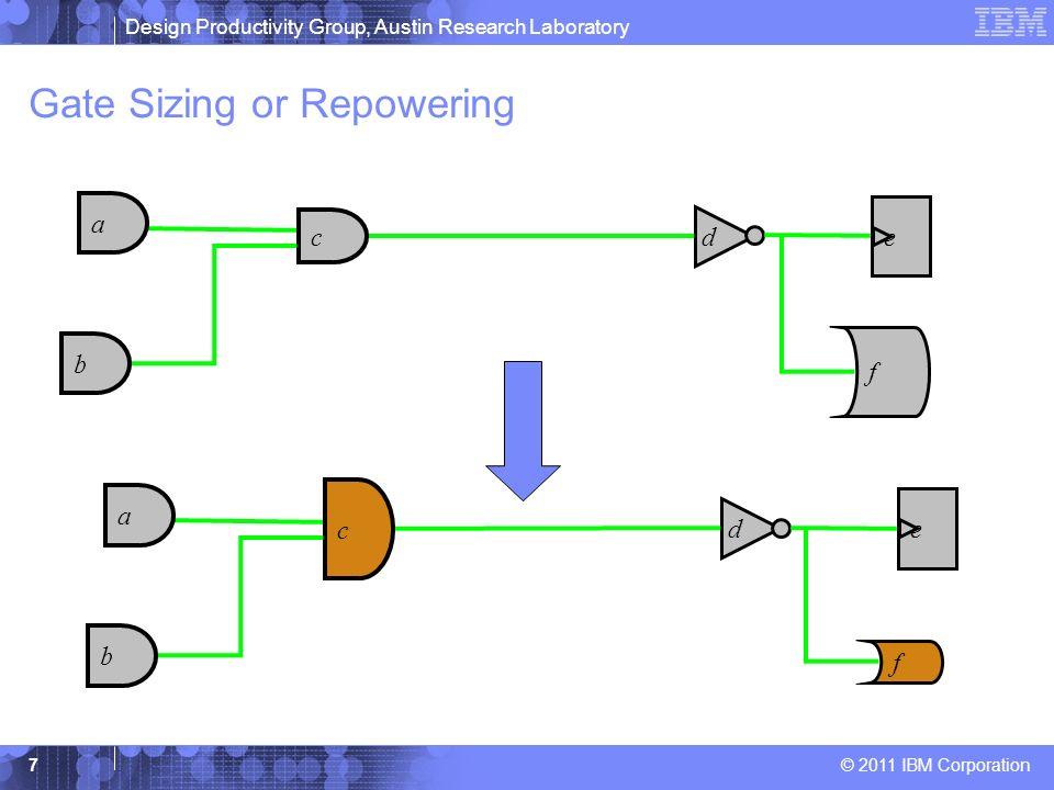 Design Productivity Group, Austin Research Laboratory © 2011 IBM Corporation 7 Gate Sizing or Repowering b f e c a d b f e c a d