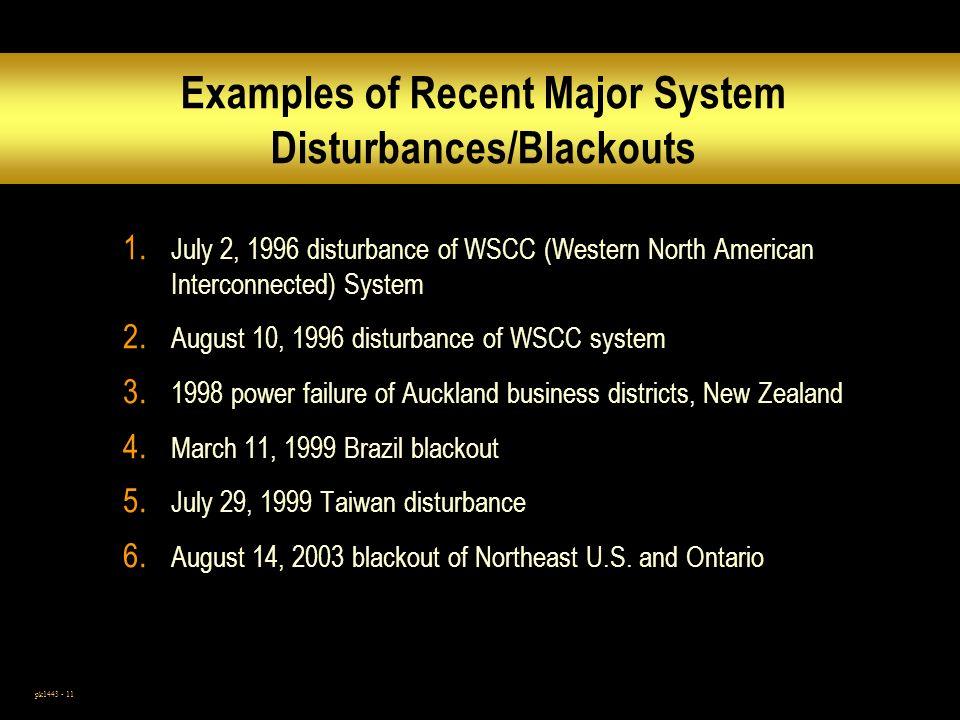 pk1443 - 11 Examples of Recent Major System Disturbances/Blackouts 1.