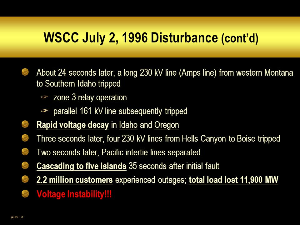 pk1443 - 16 WSCC July 2, 1996 Disturbance (contd) About 24 seconds later, a long 230 kV line (Amps line) from western Montana to Southern Idaho tripped zone 3 relay operation parallel 161 kV line subsequently tripped Rapid voltage decay in Idaho and Oregon Three seconds later, four 230 kV lines from Hells Canyon to Boise tripped Two seconds later, Pacific intertie lines separated Cascading to five islands 35 seconds after initial fault 2.2 million customers experienced outages; total load lost 11,900 MW Voltage Instability!!!