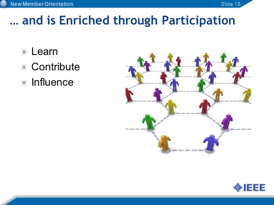 … and is Enriched through Participation Learn Contribute Influence Slide 15 New Member Orientation