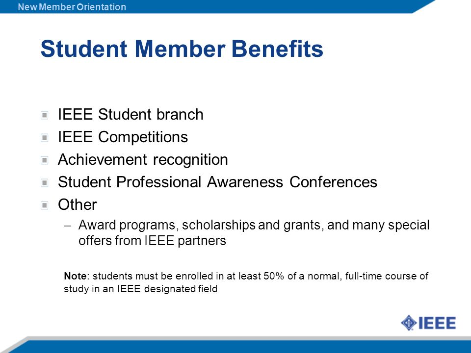 Student Member Benefits IEEE Student branch IEEE Competitions Achievement recognition Student Professional Awareness Conferences Other –Award programs