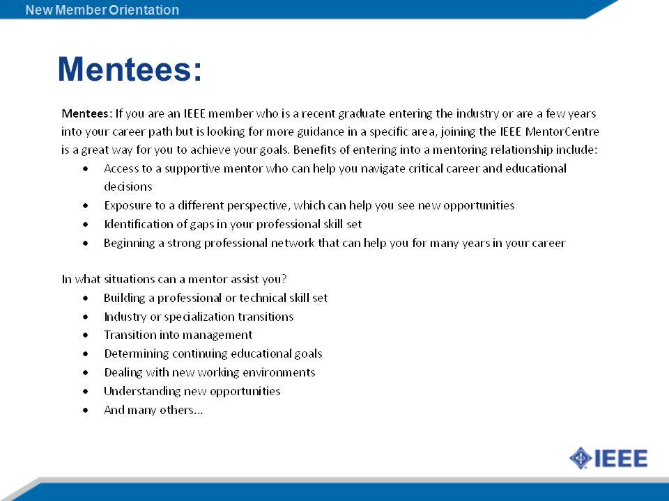 Mentees: New Member Orientation