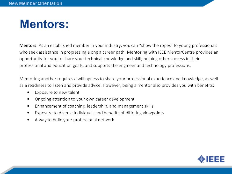 Mentors: New Member Orientation
