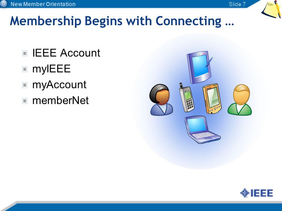 Membership Begins with Connecting … IEEE Account myIEEE myAccount memberNet Slide 7 New Member Orientation