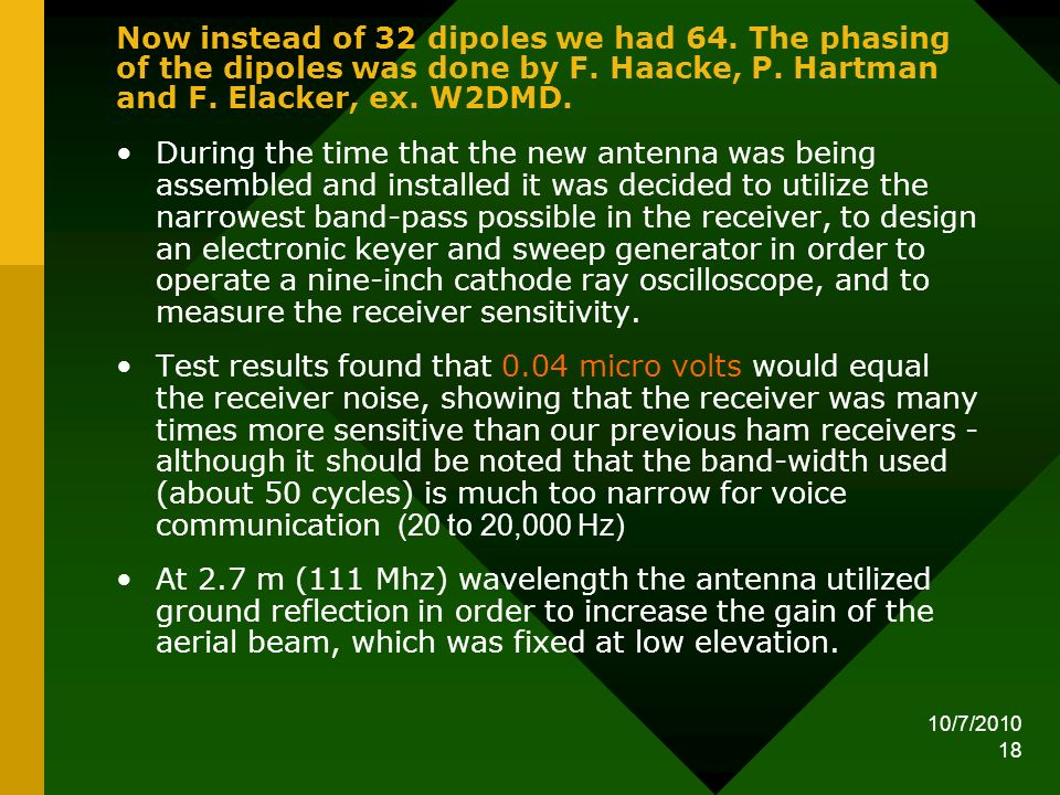 10/7/2010 18 Now instead of 32 dipoles we had 64. The phasing of the dipoles was done by F. Haacke, P. Hartman and F. Elacker, ex. W2DMD. During the t