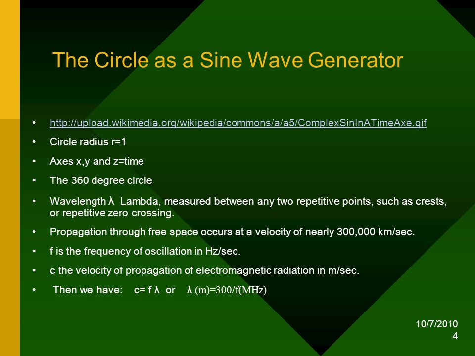 10/7/2010 5 Electromagnetic wave Electric and magnetic fields in an