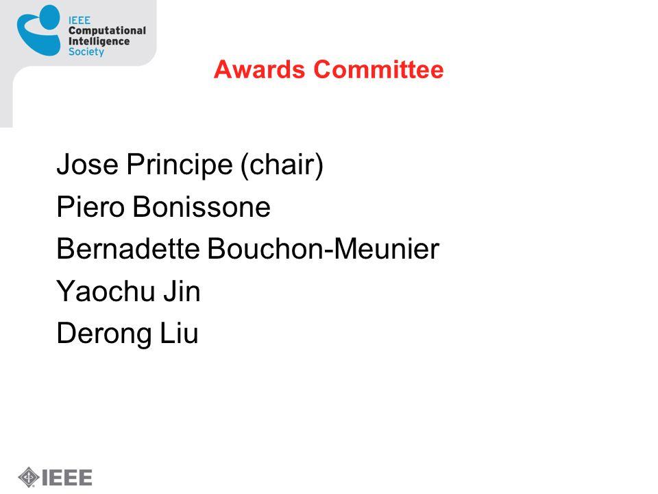 Awards Committee Jose Principe (chair) Piero Bonissone Bernadette Bouchon-Meunier Yaochu Jin Derong Liu