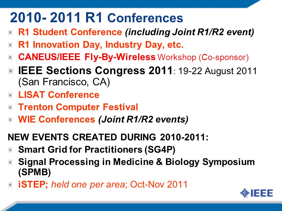 R1 Conferences R1 Student Conference (including Joint R1/R2 event) R1 Innovation Day, Industry Day, etc.