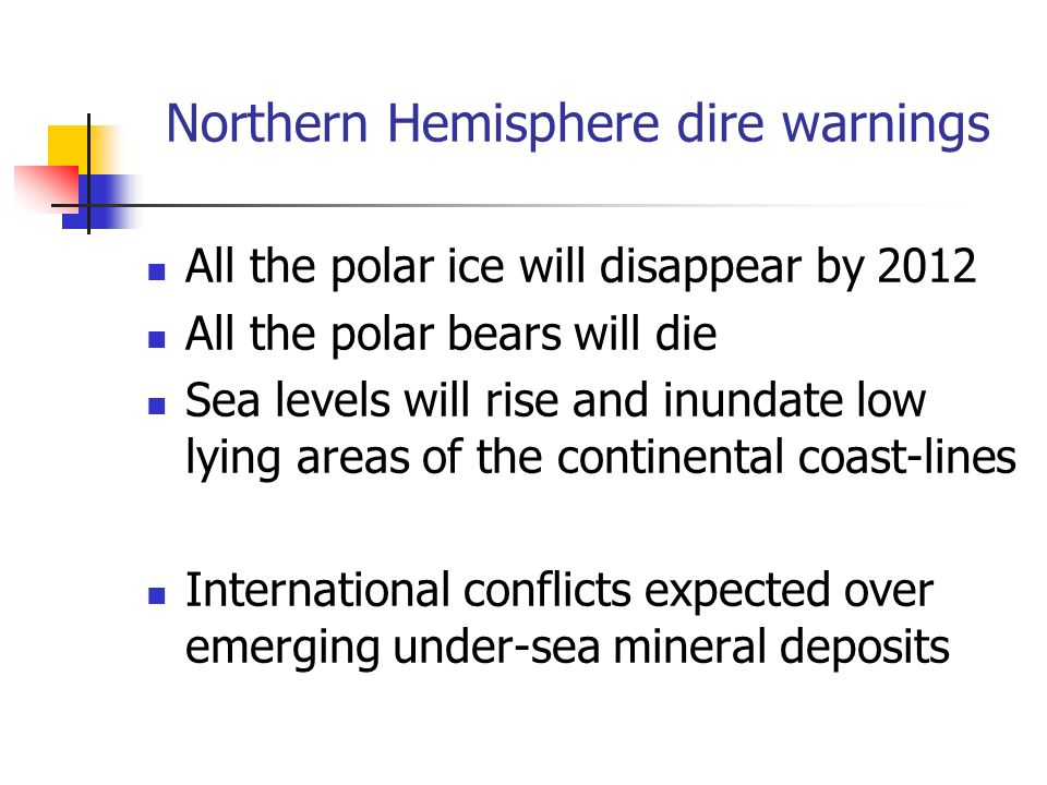 Northern Hemisphere dire warnings All the polar ice will disappear by 2012 All the polar bears will die Sea levels will rise and inundate low lying ar