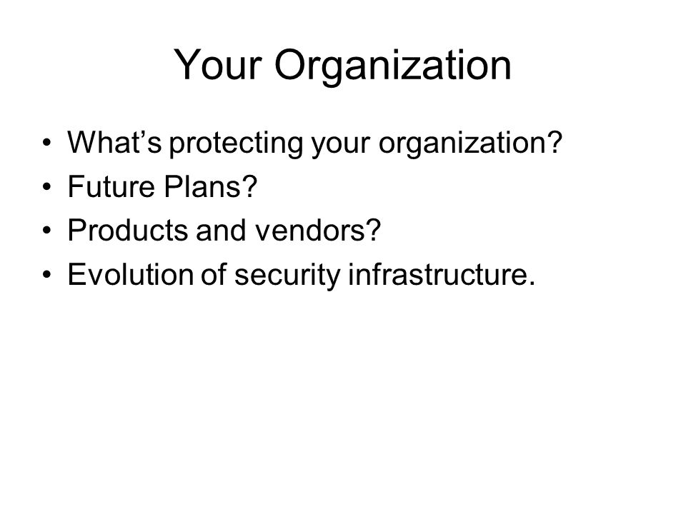 Your Organization Whats protecting your organization.