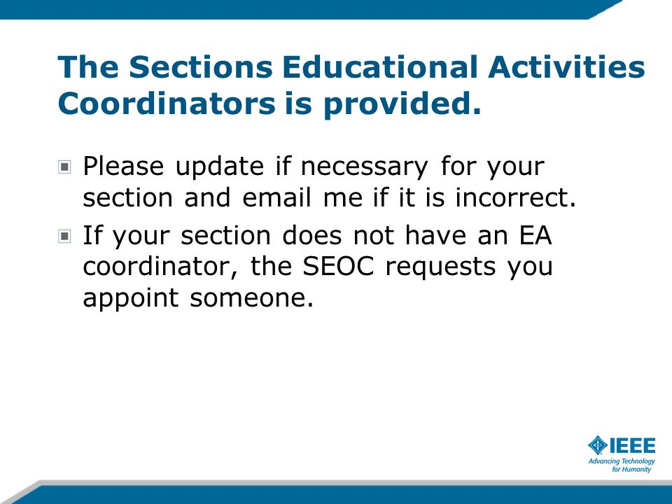The Sections Educational Activities Coordinators is provided.