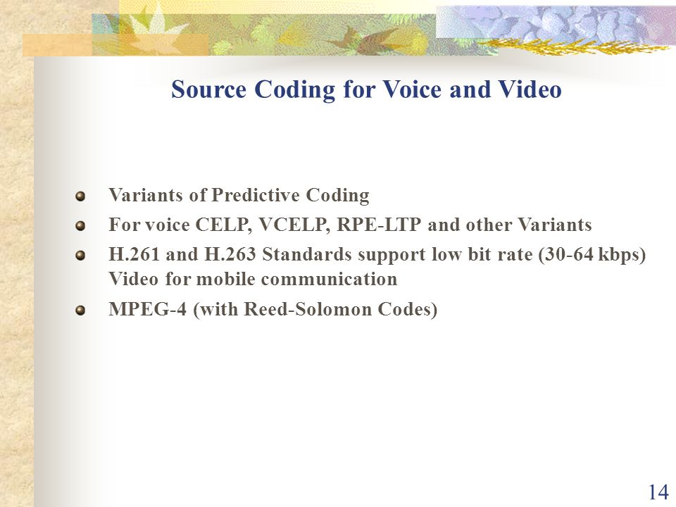 14 Source Coding for Voice and Video Variants of Predictive Coding For voice CELP, VCELP, RPE-LTP and other Variants H.261 and H.263 Standards support