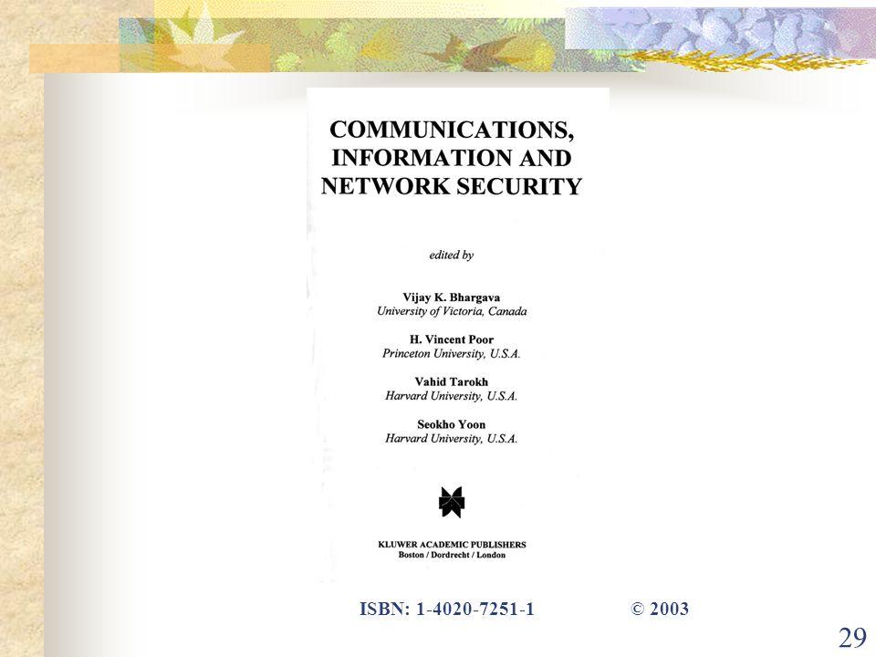 29 ISBN: 1-4020-7251-1 © 2003