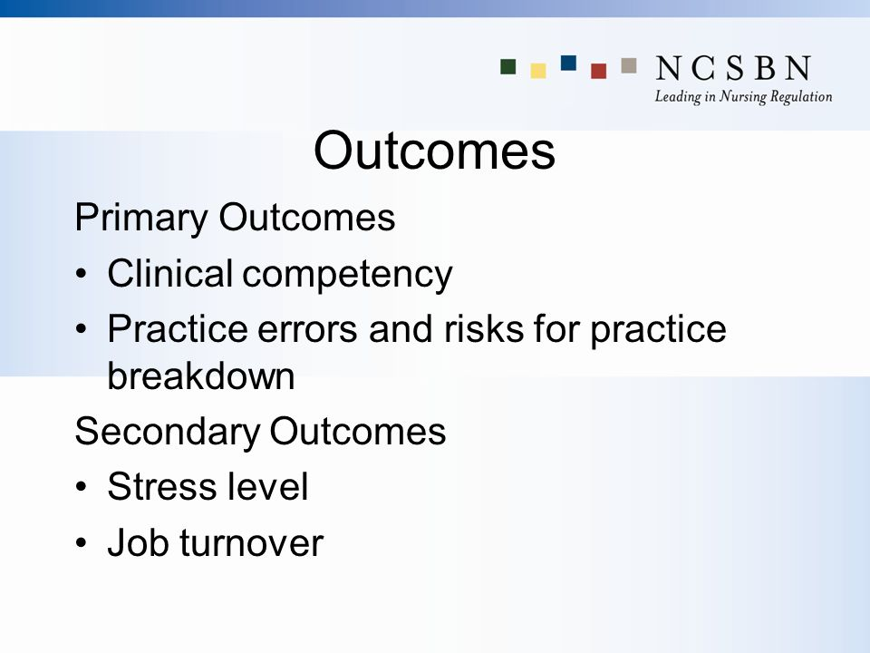 Outcomes Primary Outcomes Clinical competency Practice errors and risks for practice breakdown Secondary Outcomes Stress level Job turnover