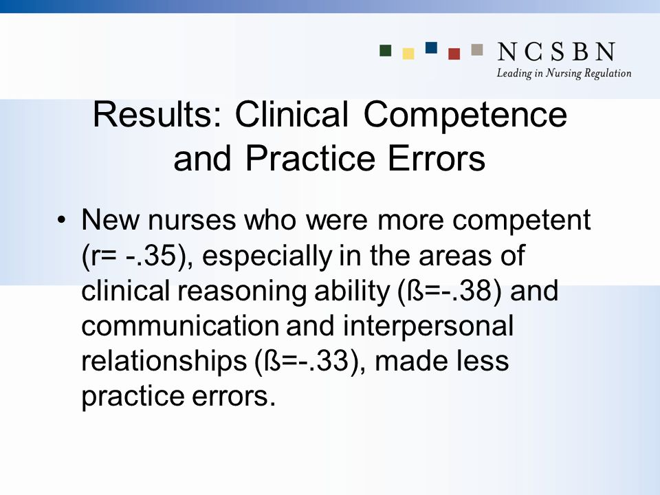 Results: Clinical Competence and Practice Errors New nurses who were more competent (r= -.35), especially in the areas of clinical reasoning ability (