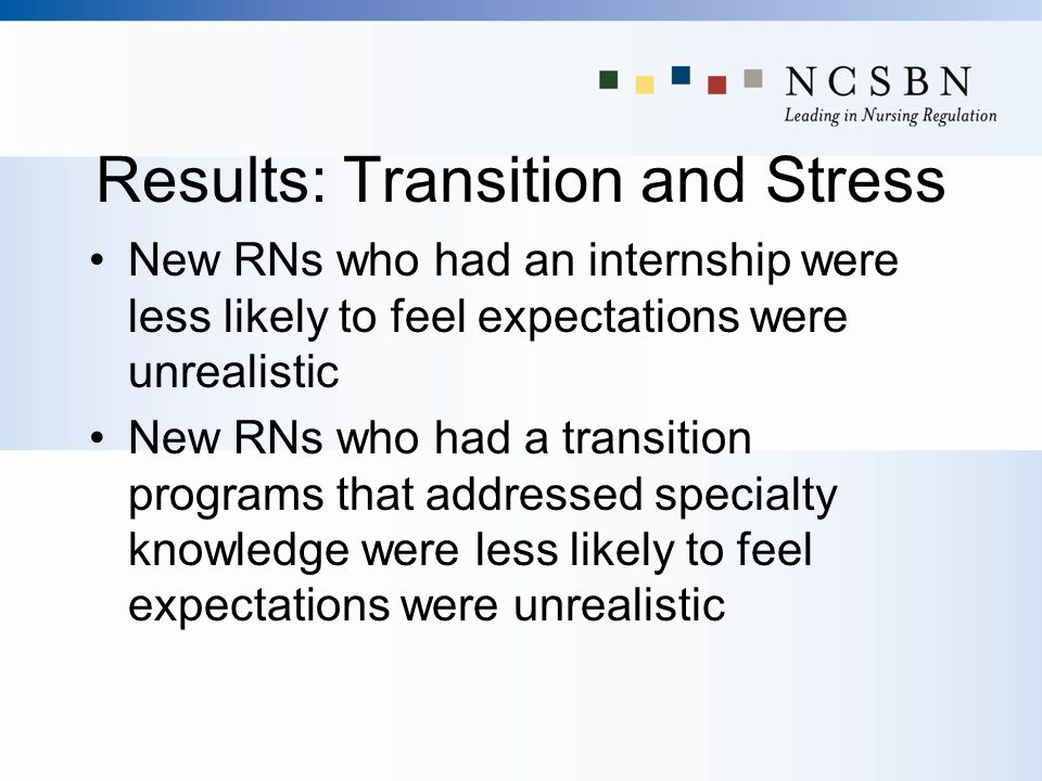 Results: Transition and Stress New RNs who had an internship were less likely to feel expectations were unrealistic New RNs who had a transition progr
