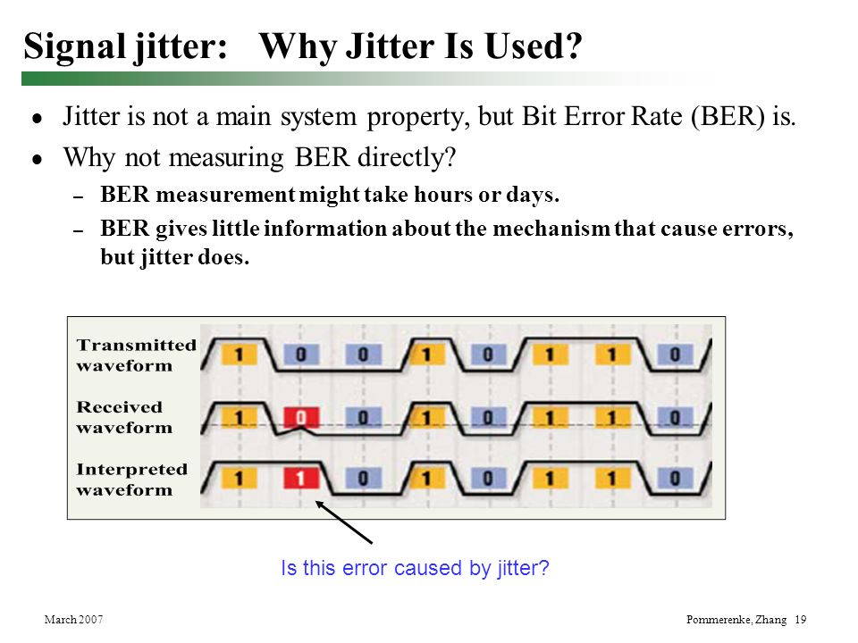 March 2007Pommerenke, Zhang 19 Signal jitter: Why Jitter Is Used? Jitter is not a main system property, but Bit Error Rate (BER) is. Why not measuring