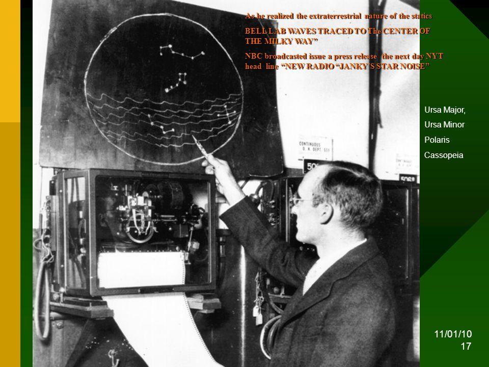 11/01/10 17 Karl Jansky pointing at the Galactic emission Ursa Major, Ursa Minor Polaris Cassopeia As he realized the extraterrestrial nature of the statics BELL LAB WAVES TRACED TO The CENTER OF THE MILKY WAY NBC broadcasted issue a press release the next day NYT head line NEW RADIO JANKYS STAR NOISE