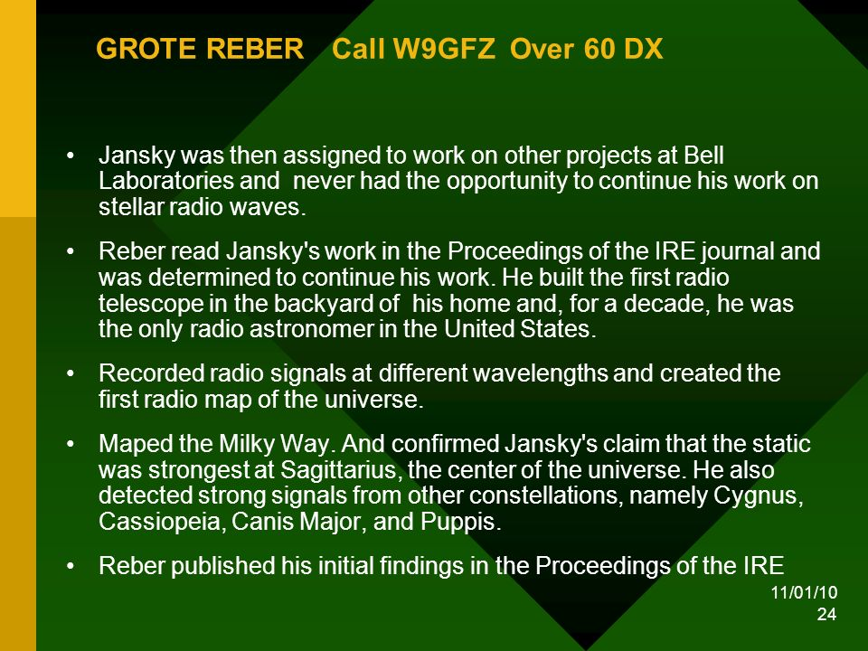 11/01/10 24 GROTE REBER Call W9GFZ Over 60 DX Jansky was then assigned to work on other projects at Bell Laboratories and never had the opportunity to continue his work on stellar radio waves.