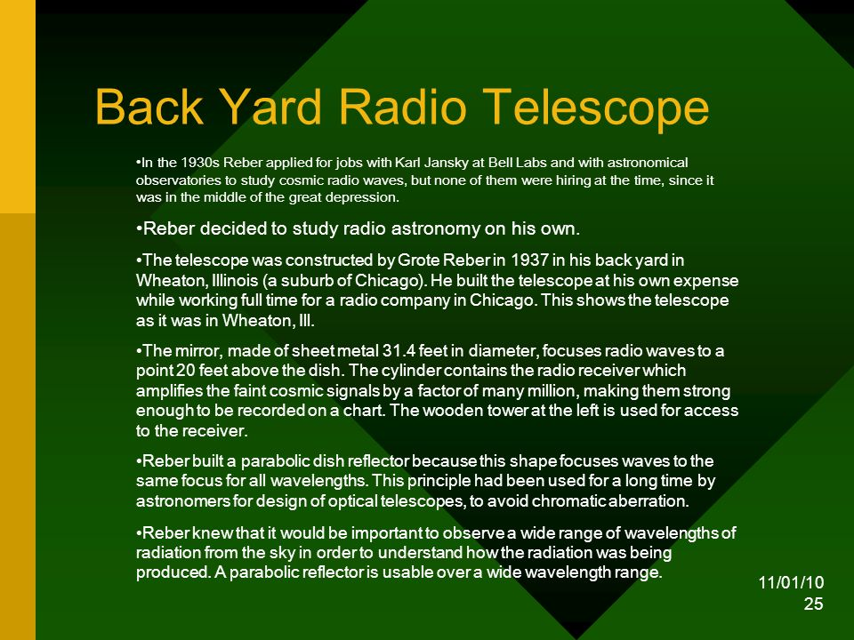 11/01/10 25 Back Yard Radio Telescope In the 1930s Reber applied for jobs with Karl Jansky at Bell Labs and with astronomical observatories to study cosmic radio waves, but none of them were hiring at the time, since it was in the middle of the great depression.