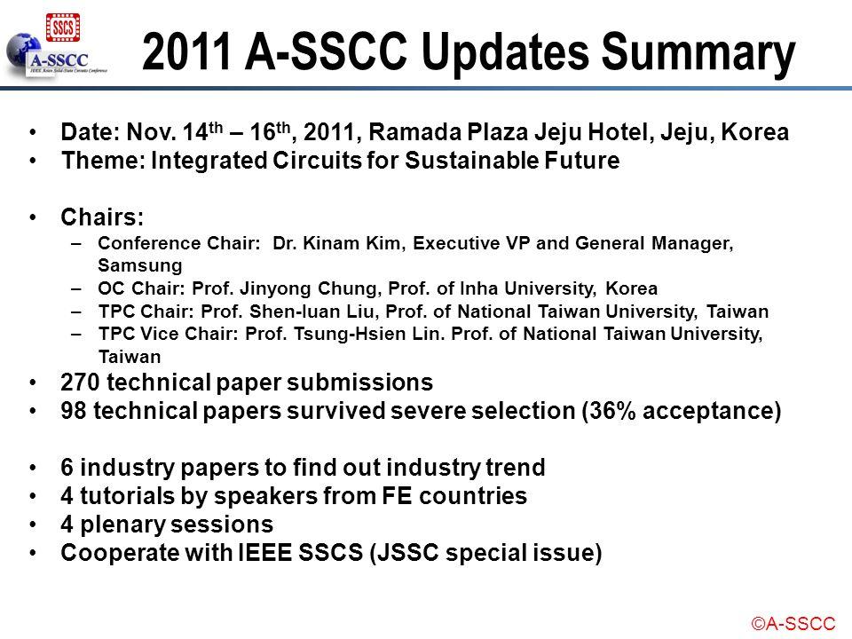 ©A-SSCC 2011 A-SSCC Updates Summary Date: Nov. 14 th – 16 th, 2011, Ramada Plaza Jeju Hotel, Jeju, Korea Theme: Integrated Circuits for Sustainable Fu