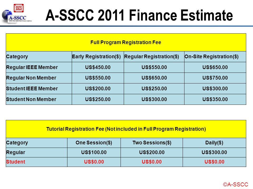 ©A-SSCC Full Program Registration Fee CategoryEarly Registration($)Regular Registration($)On-Site Registration($) Regular IEEE MemberUS$450.00US$550.0