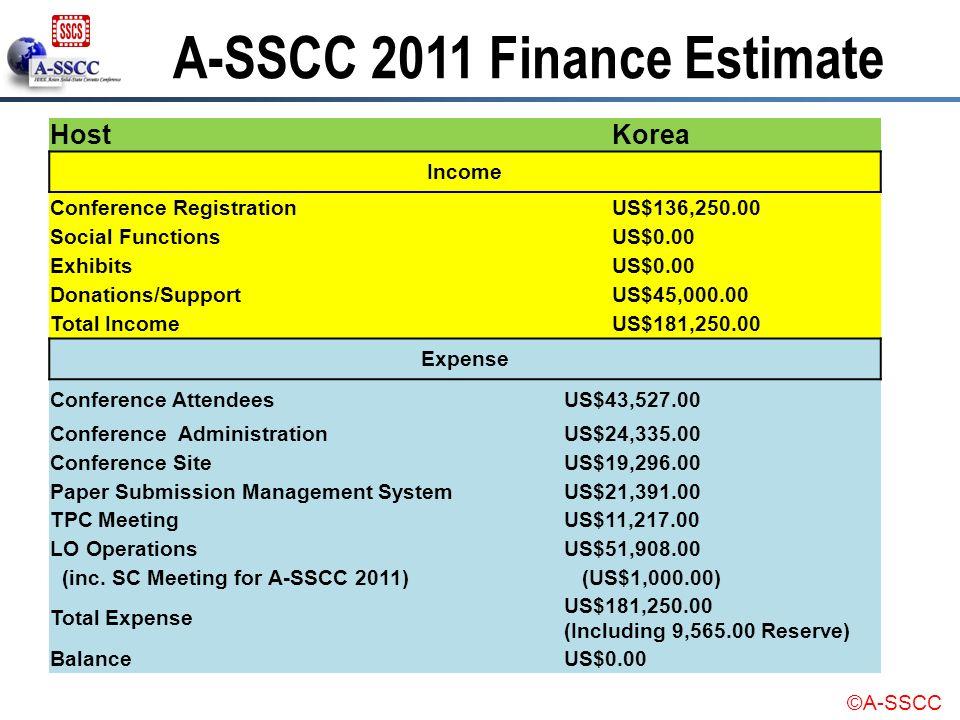 ©A-SSCC HostKorea Income Conference RegistrationUS$136,250.00 Social FunctionsUS$0.00 ExhibitsUS$0.00 Donations/SupportUS$45,000.00 Total IncomeUS$181