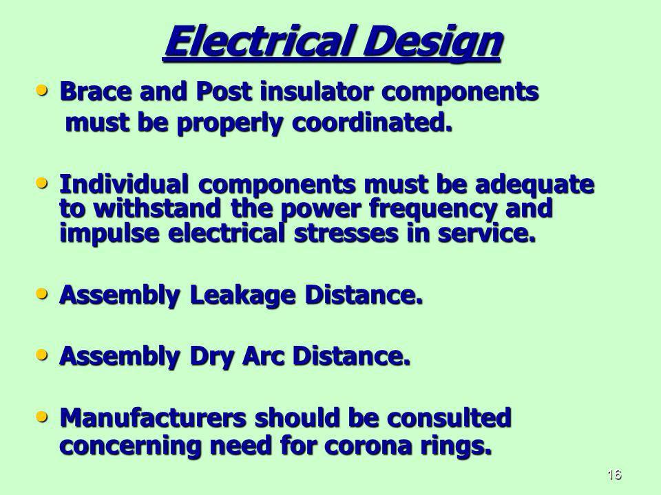 16 Electrical Design Brace and Post insulator components Brace and Post insulator components must be properly coordinated. must be properly coordinate