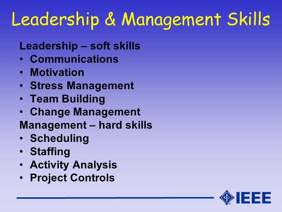 Leadership & Management Skills Leadership – soft skills Communications Motivation Stress Management Team Building Change Management Management – hard