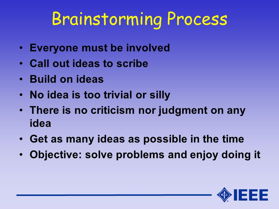 Brainstorming Process Everyone must be involved Call out ideas to scribe Build on ideas No idea is too trivial or silly There is no criticism nor judg