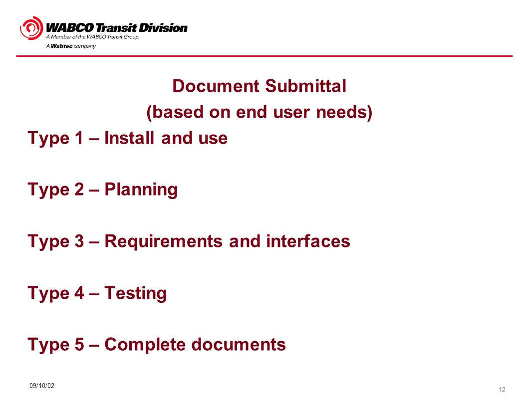 12 09/10/02 Document Submittal (based on end user needs) Type 1 – Install and use Type 2 – Planning Type 3 – Requirements and interfaces Type 4 – Test