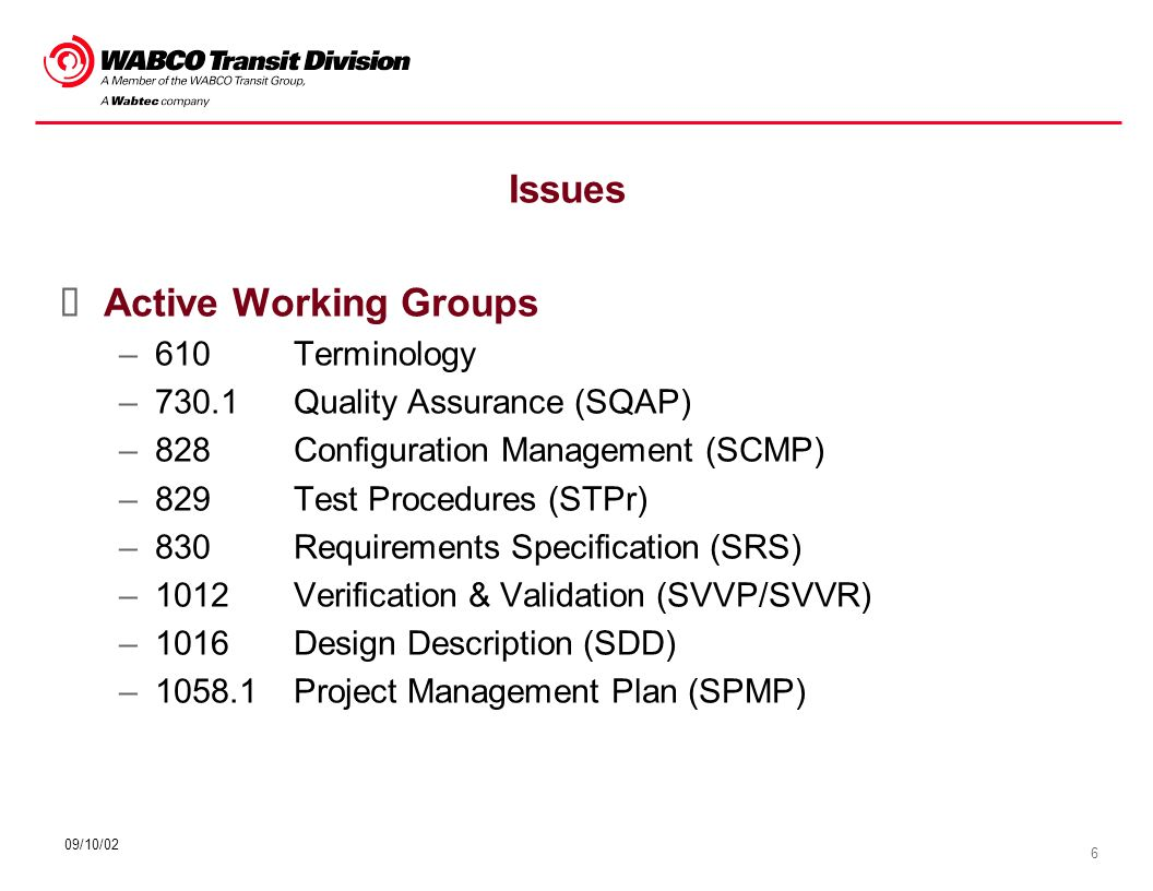 6 09/10/02 Issues Active Working Groups –610Terminology –730.1Quality Assurance (SQAP) –828Configuration Management (SCMP) –829Test Procedures (STPr)