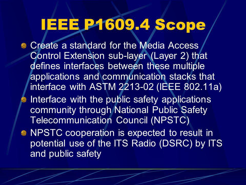 IEEE P1609.4 Scope Create a standard for the Media Access Control Extension sub-layer (Layer 2) that defines interfaces between these multiple applica