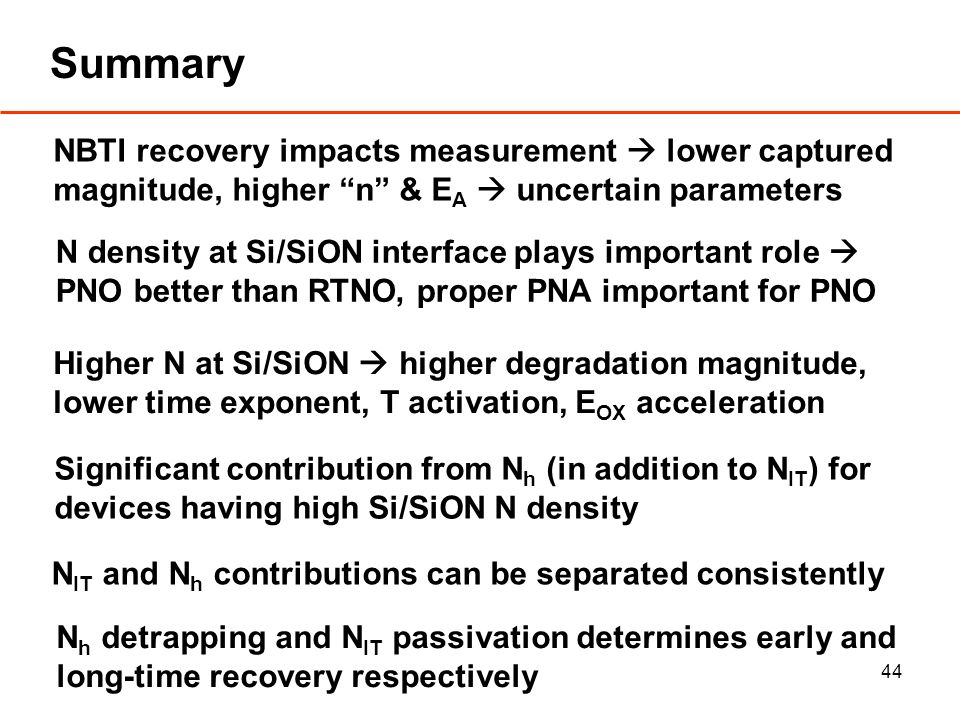 44 Summary N density at Si/SiON interface plays important role PNO better than RTNO, proper PNA important for PNO Higher N at Si/SiON higher degradation magnitude, lower time exponent, T activation, E OX acceleration Significant contribution from N h (in addition to N IT ) for devices having high Si/SiON N density N IT and N h contributions can be separated consistently N h detrapping and N IT passivation determines early and long-time recovery respectively NBTI recovery impacts measurement lower captured magnitude, higher n & E A uncertain parameters