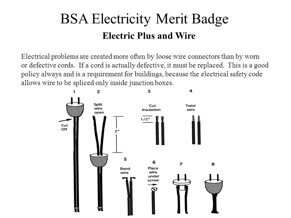 BSA Electricity Merit Badge Electric Plus and Wire Electrical problems are created more often by loose wire connectors than by worn or defective cords
