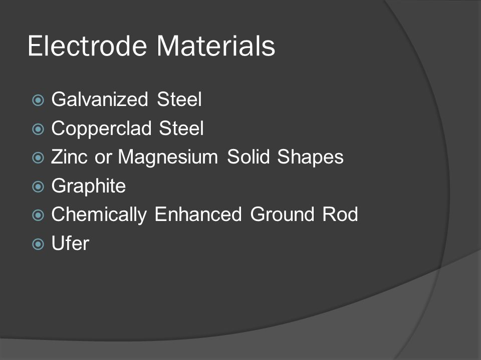 Electrode Materials Galvanized Steel Copperclad Steel Zinc or Magnesium Solid Shapes Graphite Chemically Enhanced Ground Rod Ufer