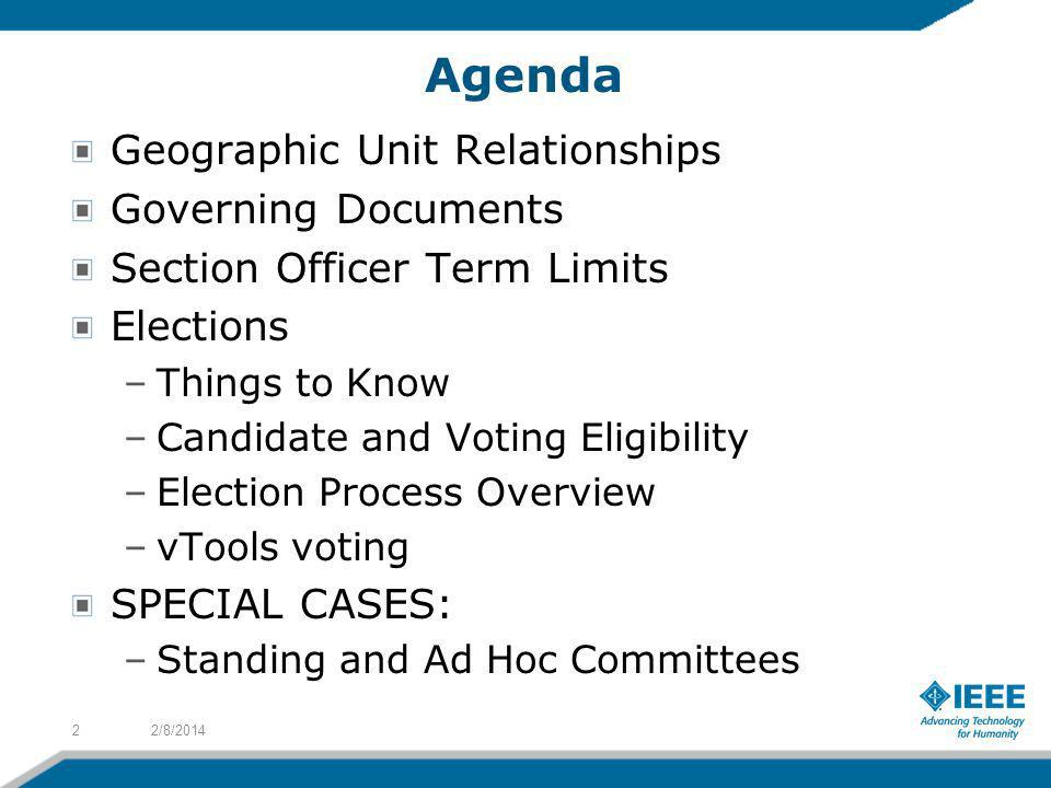 Agenda Geographic Unit Relationships Governing Documents Section Officer Term Limits Elections –Things to Know –Candidate and Voting Eligibility –Elec