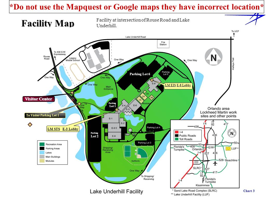 Facility Map Chart 3 Parking Lot 6 Parking Lot 2 LM STS E-3 Lobby To Visitor Parking Lot 1 LM EIS E-8 Lobby Visitor Center Parking Lot 1 Facility at i
