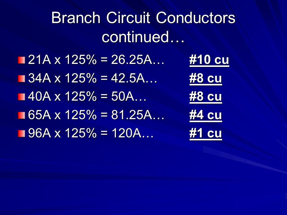 Branch Circuit Conductors continued… 21A x 125% = 26.25A…#10 cu 34A x 125% = 42.5A…#8 cu 40A x 125% = 50A…#8 cu 65A x 125% = 81.25A…#4 cu 96A x 125% = 120A…#1 cu